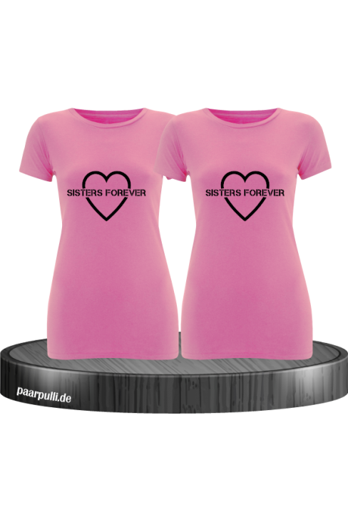Sisters Forever T-shirts in rosa mit schwarze Folie