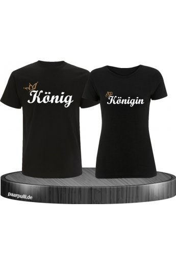 König & Königin mit goldener Krone Partnerlook T-Shirts