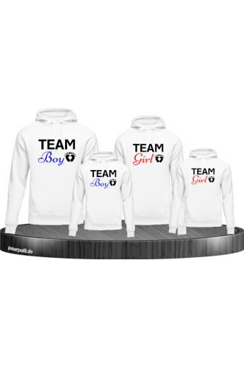 Team Boy und Team Girl Familienlook Hoodies in weiß