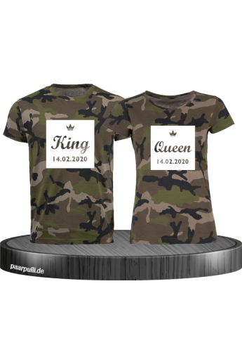 King Queen Partnerlook T Shirts im Kasten mit Wunschdatum als Camouflage Shirts