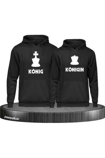 König & Königin mit Schachfiguren Partnerlook Hoodies