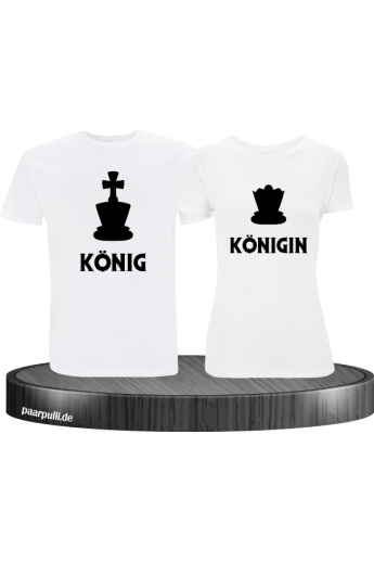 König & Königin mit Schachfiguren Partnerlook T-Shirts