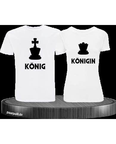 König Königin mit schachfiguren t shirts  in weiß