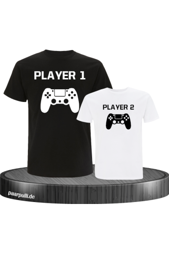 T-Shirt-Set Vater und Sohn Player One & Player Two