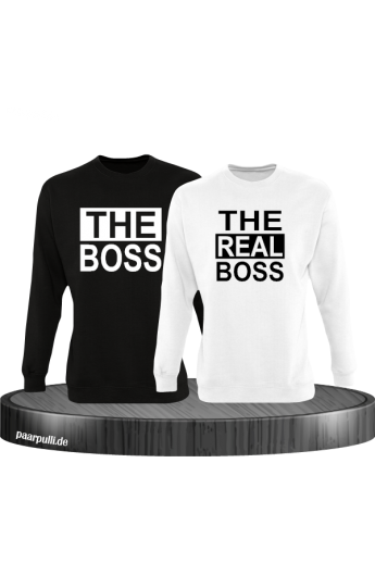 The Boss The real Boss sweatshirts partnerlook in schwarz-weiß