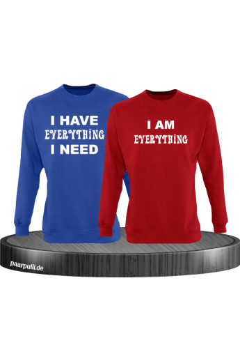 I have everything i need und i am everything partnerlook sweatshirts in blau-rot