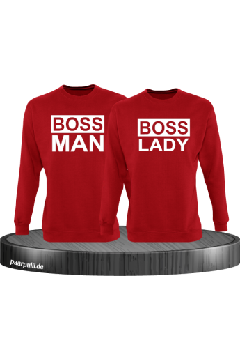 Boss Man und Boss Lady Partnerlook Sweatshirts