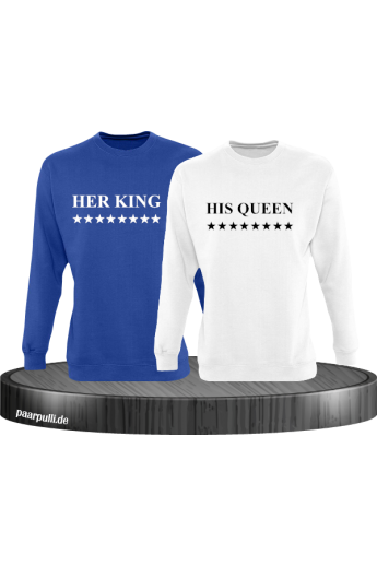 Her King His Queen Partnerlook Sweatshirts in blau weiß