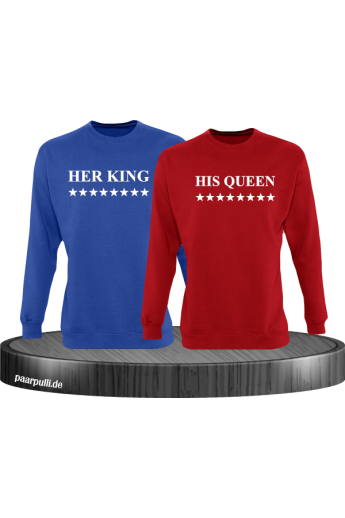 Her King und His Queen mit Sternen Partnerlook Sweatshirts