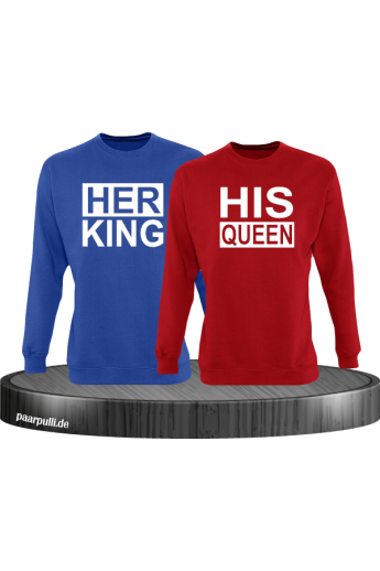 Her King His Queen Partnerlook Sweatshirts in blau rot