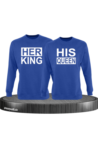 Her King His Queen Partnerlook Sweatshirts in blau