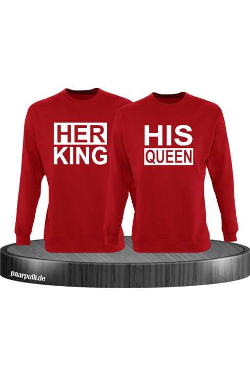 Her King His Queen Partnerlook Sweatshirts in rot