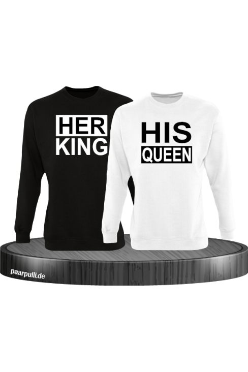 Her King His Queen Partnerlook Sweatshirts in schwarz weiß