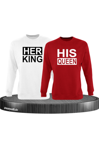 Her King His Queen Partnerlook Sweatshirts in weiß rot