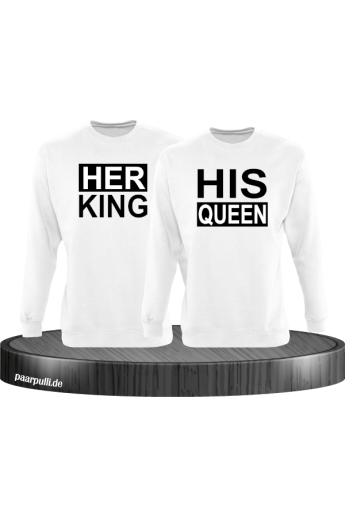 Her King His Queen Partnerlook Sweatshirts in weiß