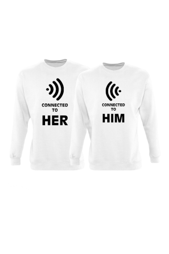 Connected to Her und Connected to Him Partnerlook Sweatshirts