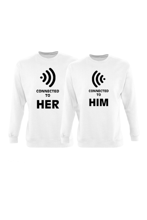 Connected to her und connected to him partnerlook sweatshirts in weiß