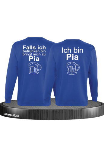 Falls ich betrunken bin Partnerlook Sweatshirts in Blau