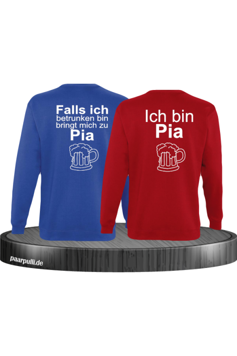 Falls ich betrunken bin Partnerlook Sweatshirts in Blau rot