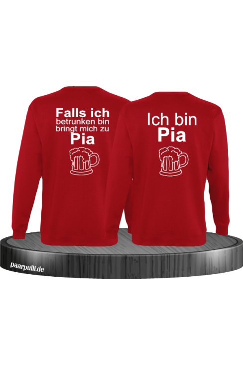 Falls ich betrunken bin Partnerlook Sweatshirts in rot