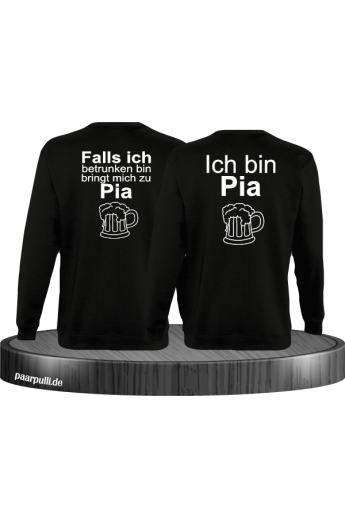 Falls ich betrunken bin Partnerlook Sweatshirts in schwarz