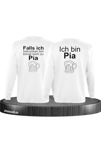 Falls ich betrunken bin Partnerlook Sweatshirts in weiß