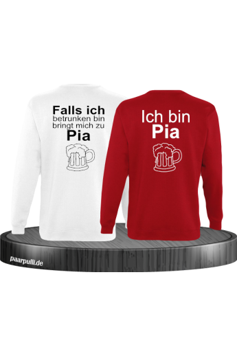 Falls ich betrunken bin Partnerlook Sweatshirts in weiß rot