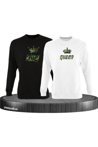 King und Queen als Camouflage Design Partnerlook Sweatshirts in schwarz weiß