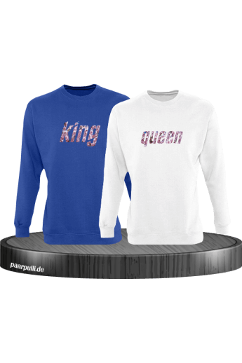 King und Queen mit Blumenmuster Design Partnerlook Sweatshirts
