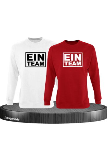 Ein Team Partnerlook sweatshirts in weiß-rot