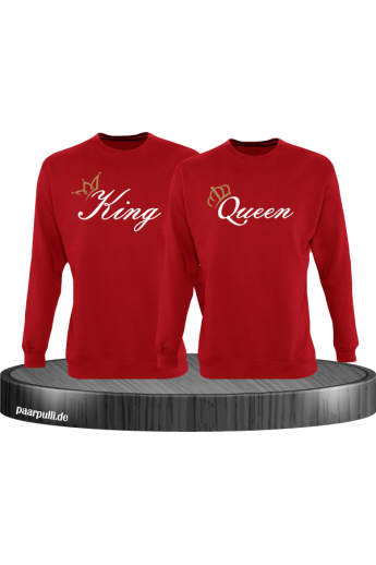 King und Queen mit goldenen Kronen Partnerlook Sweatshirts