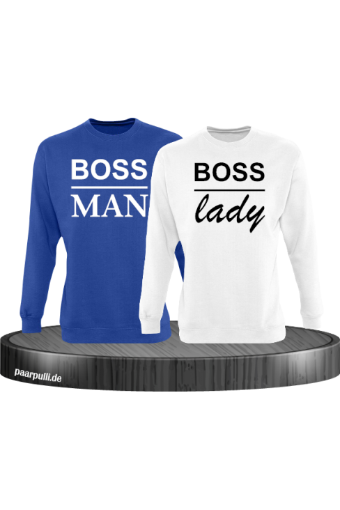 Boss Man und Boss Lady Partnerlook Sweatshirts in blau weiß