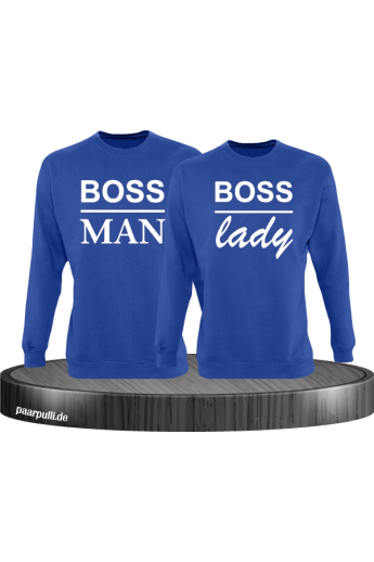 Boss Man und Boss Lady Partnerlook Sweatshirts in blau