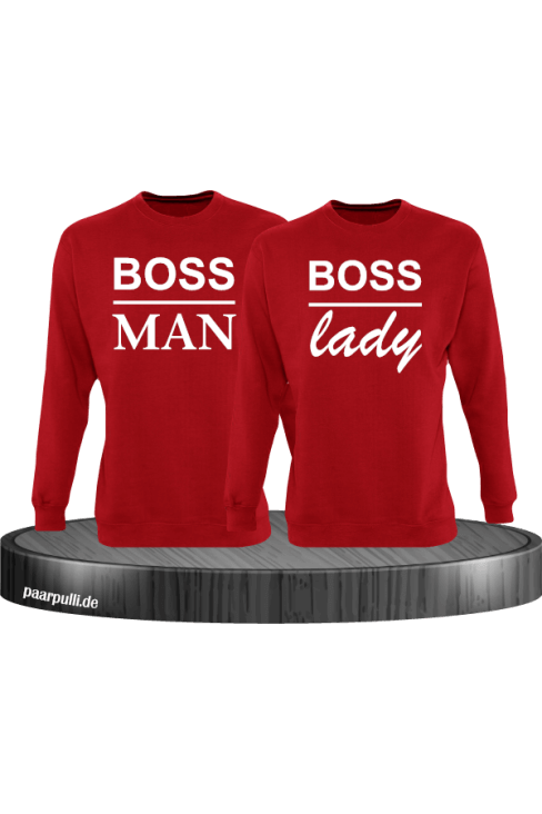 Boss Man und Boss Lady Partnerlook Sweatshirts in Rot