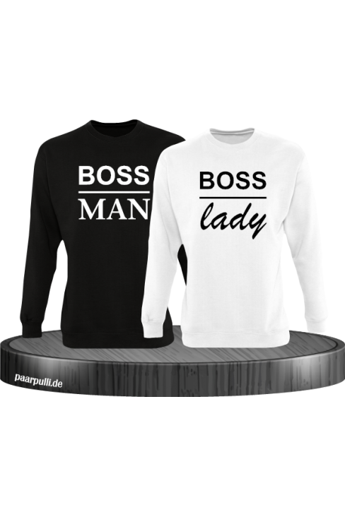 Boss Man und Boss Lady Partnerlook Sweatshirts in schwarz weiß