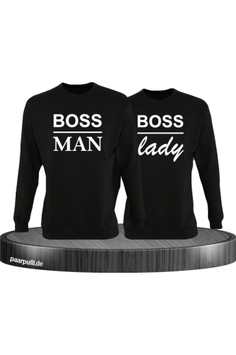 Boss Man und Boss Lady Partnerlook Sweatshirts in schwarz