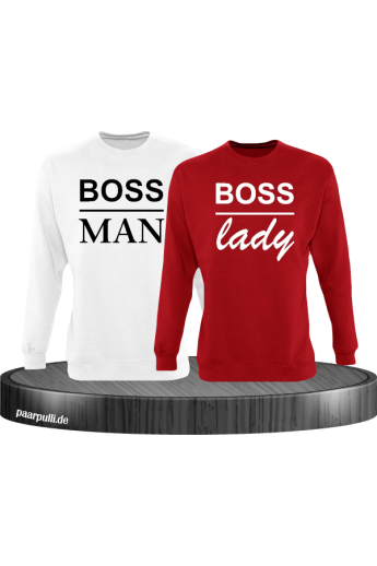 Boss Man und Boss Lady Partnerlook Sweatshirts in Rot weiß