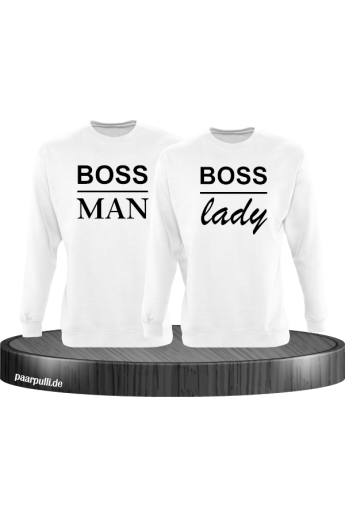 Boss Man und Boss Lady Partnerlook Sweatshirts in weiß