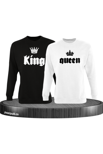 King Queen mit Kronen Partnerlook Sweatshirts in schwarz weiß