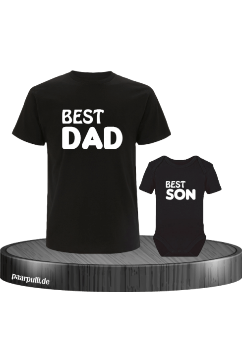 Best Dad und Best Son Partnerlook in schwarz