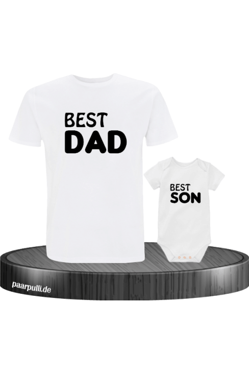 Best Dad und Best Son Partnerlook in weiß