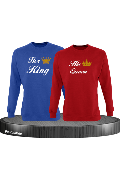 Her King und His Queen Partnerlook Sweatshirts in blau rot