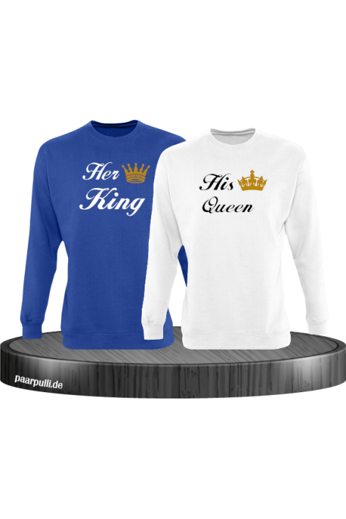 Her King und His Queen Partnerlook Sweatshirts in blau weiß
