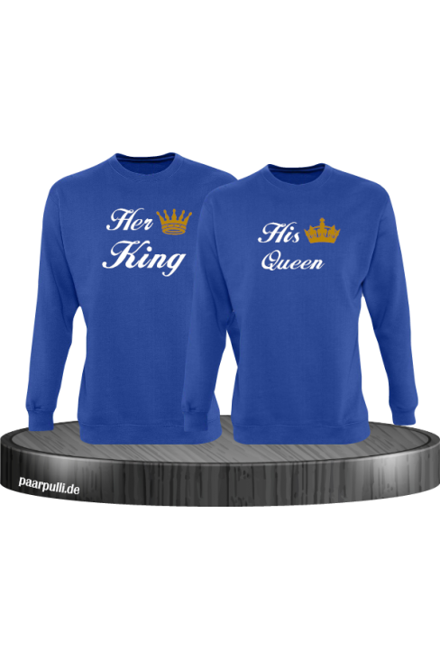 Her King und His Queen Partnerlook Sweatshirts in blau