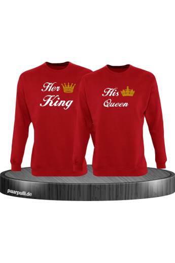 Her King und His Queen Partnerlook Sweatshirts in rot