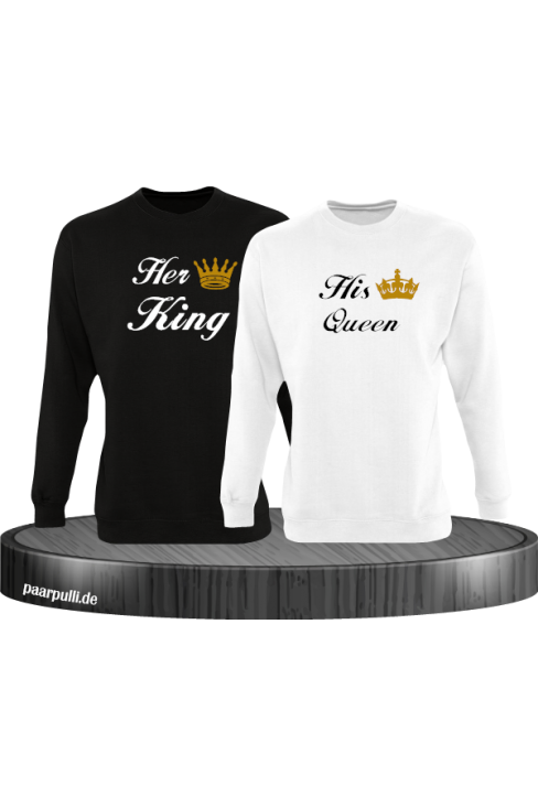 Her King und His Queen Partnerlook Sweatshirts in schwarz weiß