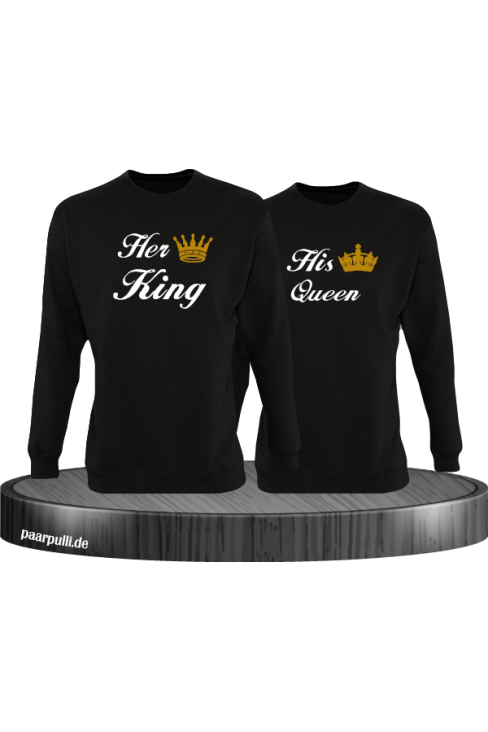 Her King und His Queen Partnerlook Sweatshirts in schwarz
