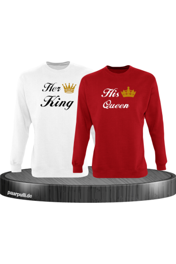 Her King und His Queen Partnerlook Sweatshirts in weiß rot