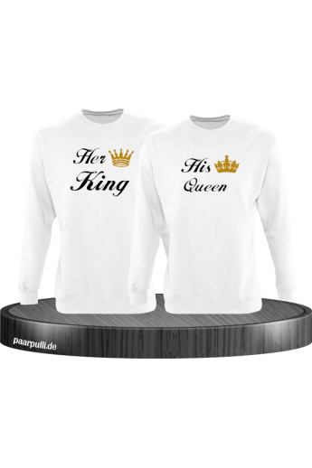 Her King und His Queen Partnerlook Sweatshirts in weiß