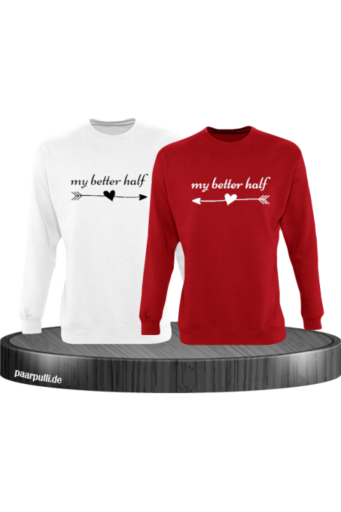 My better half Partnerlook Sweatshirts in weiß rot